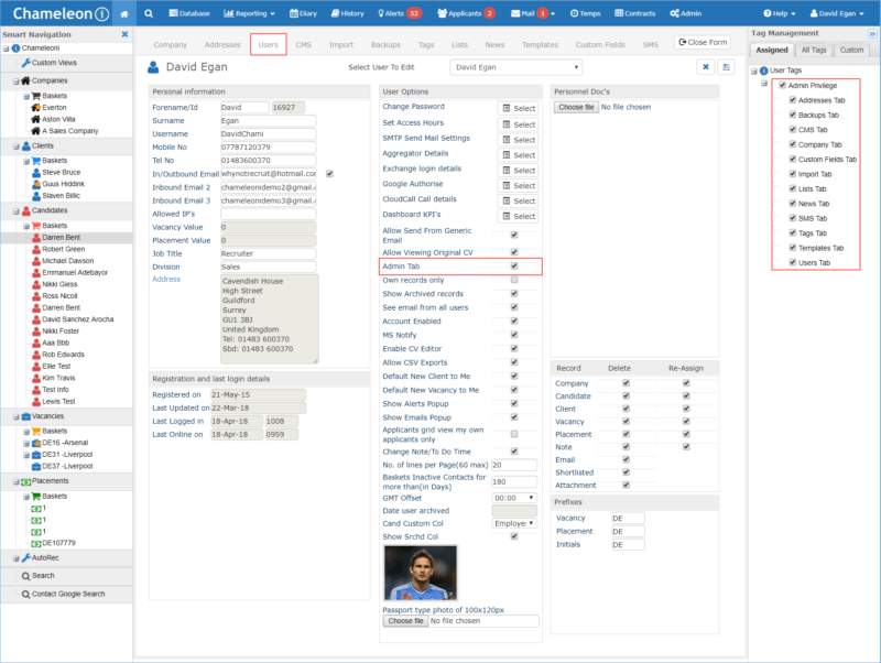 Screenshot of Chameleon-i recruitment software Admin permissions