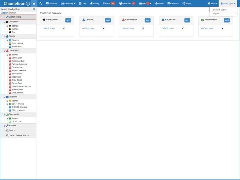 Screenshot of Custom views