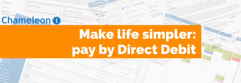 Make like simpler: pay by direct debit - orange banner. Background filled with recruitment software screenshots