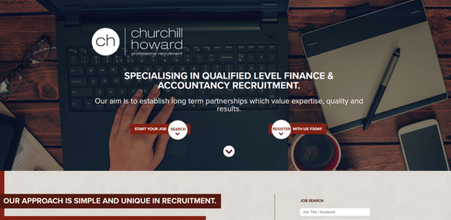 Screenshot of Churchill Howard Professional Recruitment website