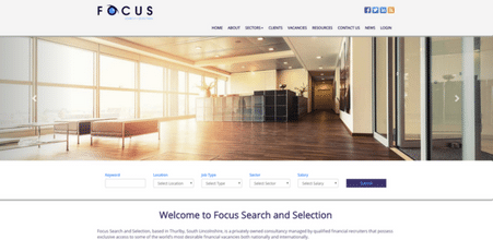Screenshot of Focus Search + Selection website