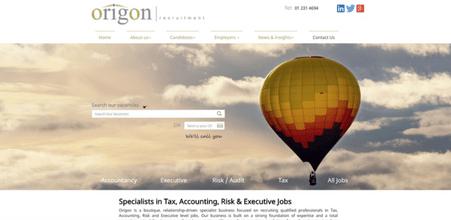 Screenshot of Origon Recruitment website