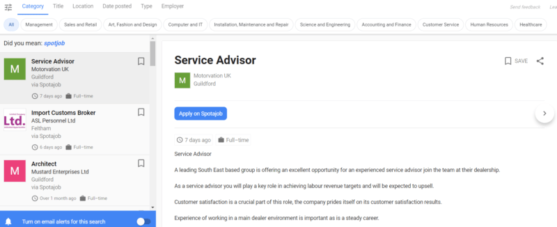 spotajob service administrator job advert