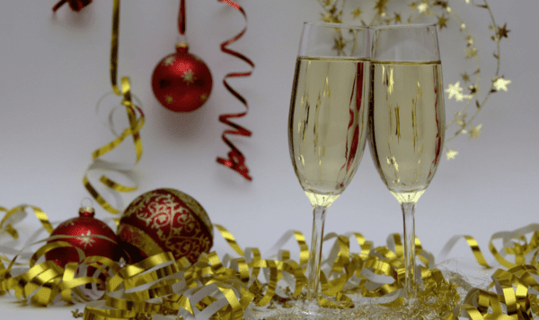 Champagne and christmas party decorations